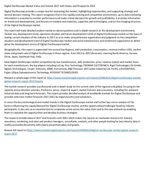 Digital Oscilloscope Market 2017 to 2022