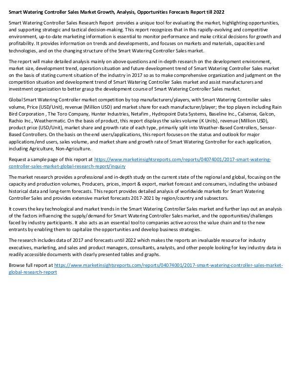 Research Report 2017 Smart Watering Controller Sales Market