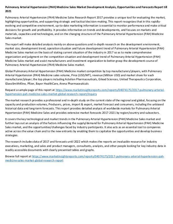 Research Report 2017 Pulmonary Arterial Hypertension Medicine Sale