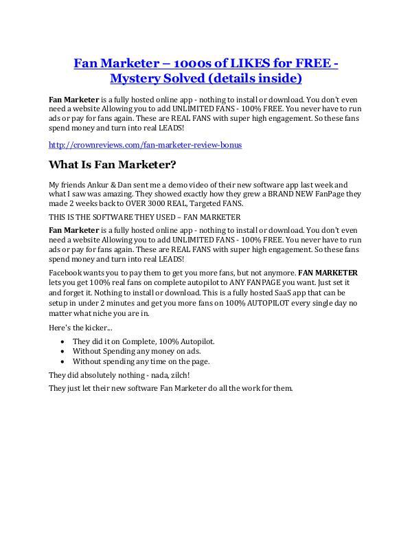 Fan Marketer Review demo - $22,700 bonus