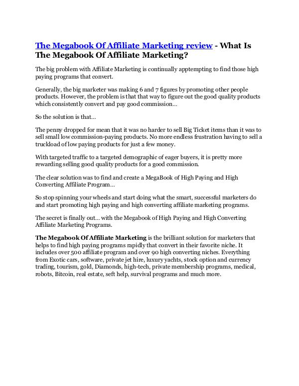 The Megabook Of Affiliate Marketing Review & GIANT
