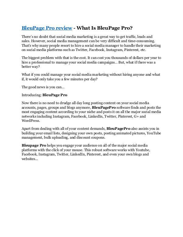 BleuPage Pro review demo and $14800 bonuses