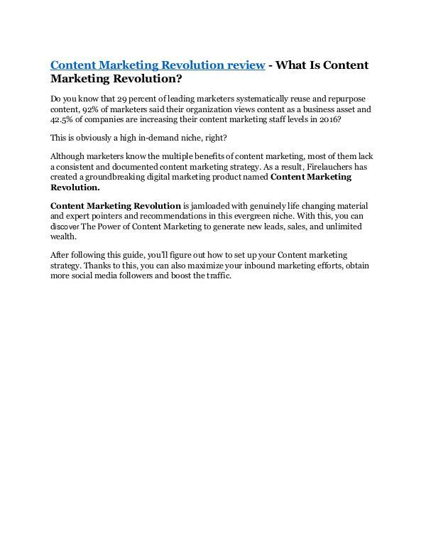 Content Marketing Revolution Review - $24,700 BONU