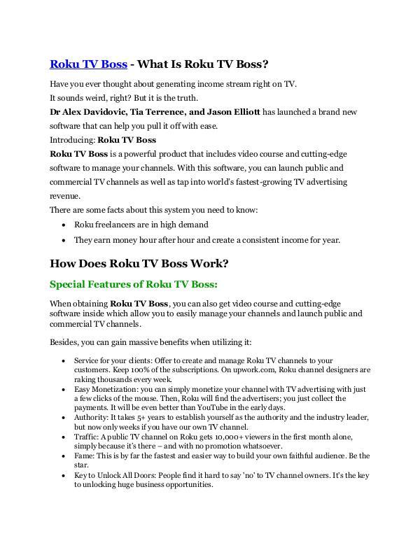 Roku TV Boss review & Roku TV Boss (Free) $26,700