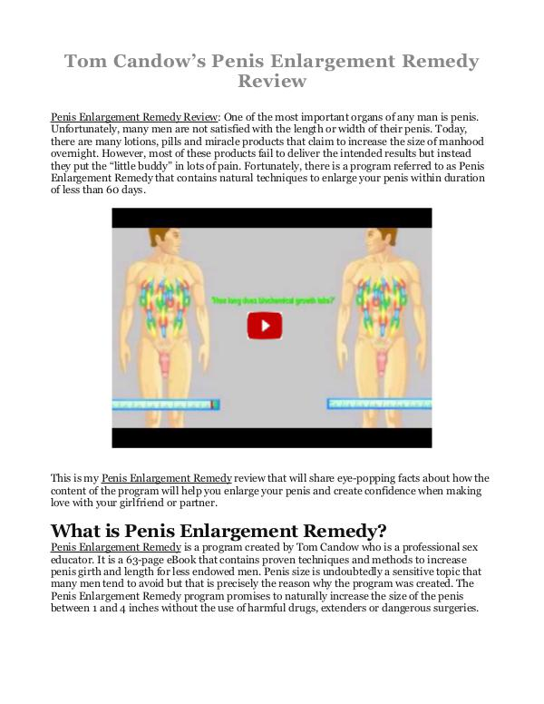 Penis Enlargement Remedy PDF / eBook Is Tom Candow's Book Free Download?
