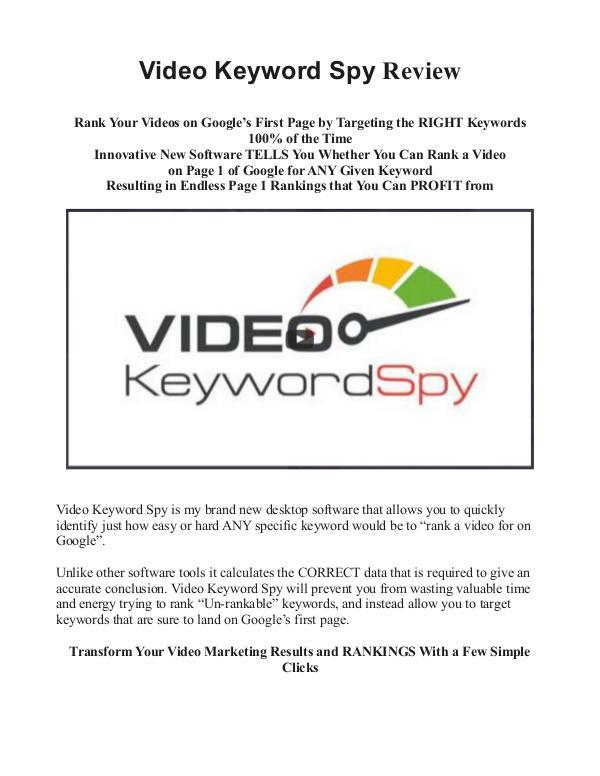Video Keyword Spy Review Does Video Keyword Spy Work?
