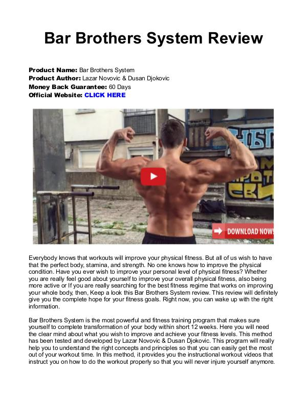 Bar Brothers The System PDF / Program Is The 12 Week Program Free Download
