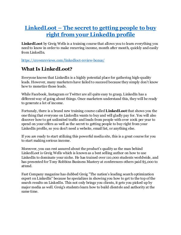 LinkedLoot review - LinkedLoot sneak peek features