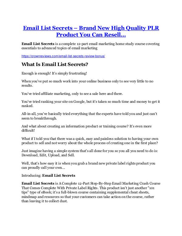 Email List Secrets Review & GIANT Bonus