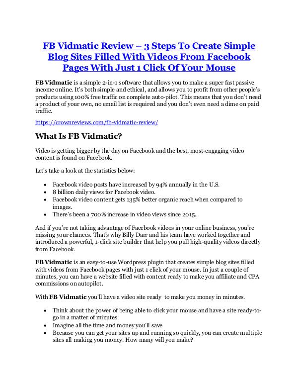 FB Vidmatic Review and (MASSIVE) $23,800 BONUSES