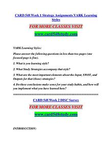 CARD 548 STUDY Learn Do Live /card548study.com