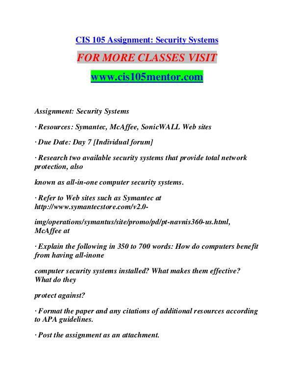 CIS 105 MENTOR Learn Do Live /cis105mentor.com CIS 105 MENTOR Learn Do Live /cis105mentor.com