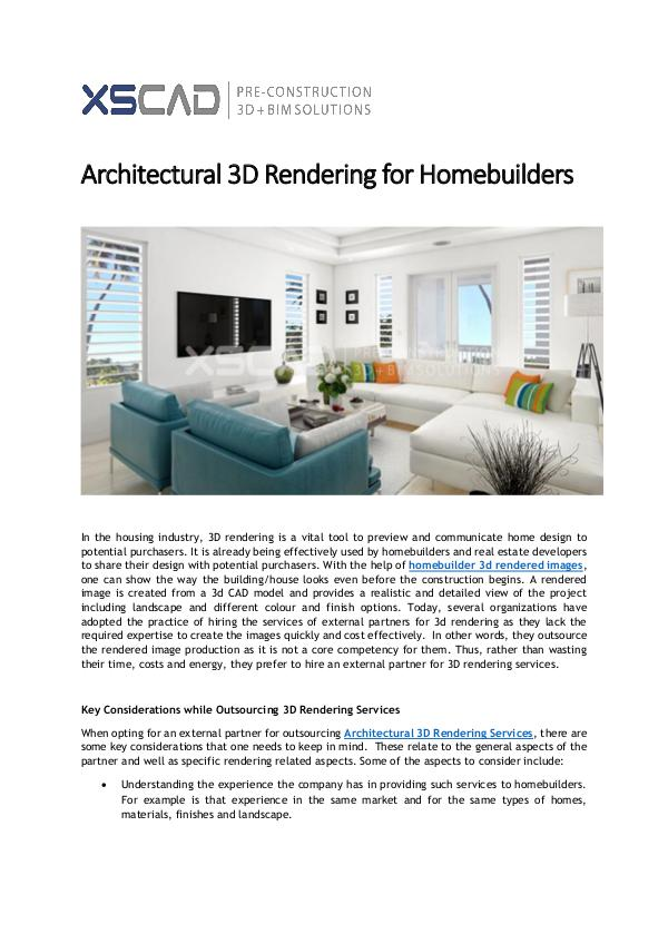 Architectural 3D Rendering for Homebuilders XS CAD:Architectural 3D Rendering Services