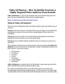 Video Ad Mastery Review - SECRET of Video Ad Mastery