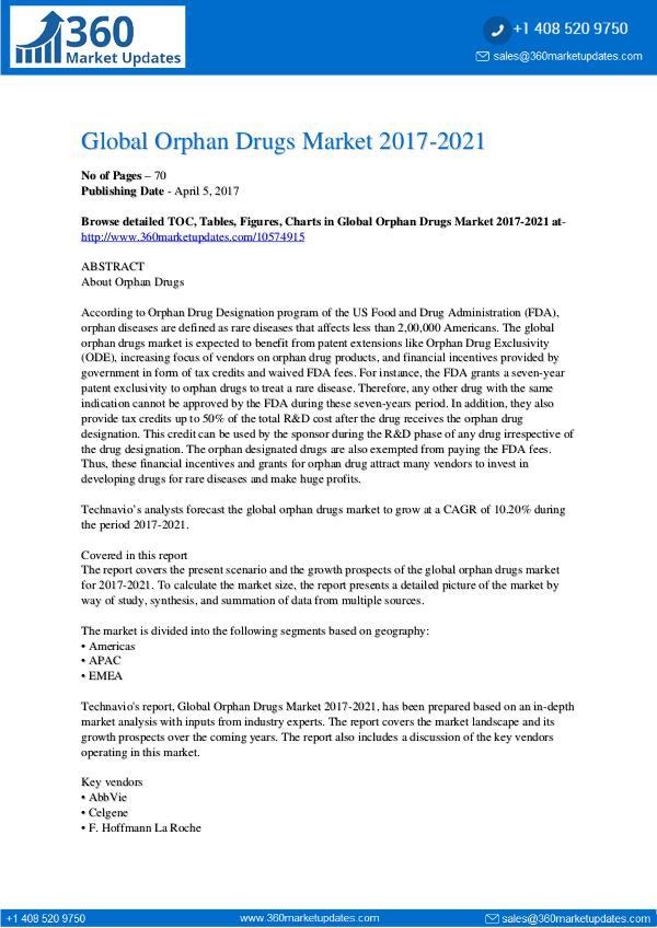 Report- Orphan Drugs Market 2017-2021