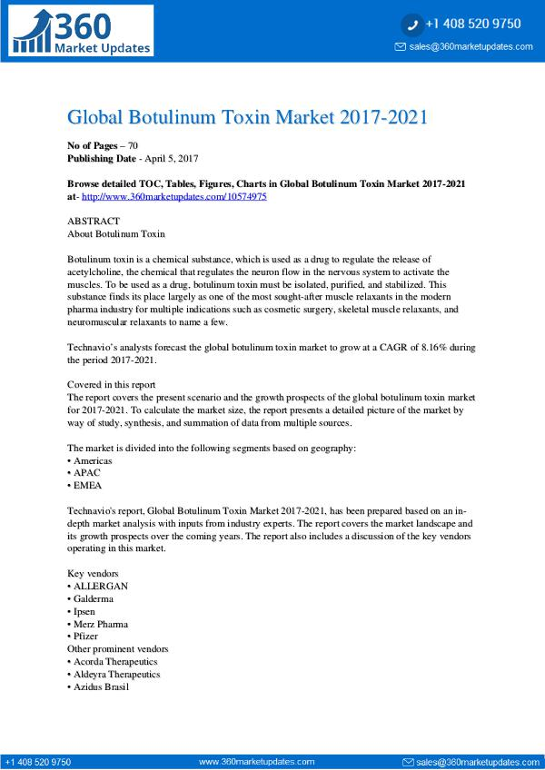 Report- Botulinum Toxin Market 2017-2021