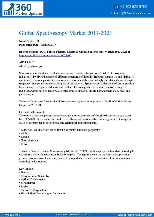 Report- Spectroscopy Market 2017-2021