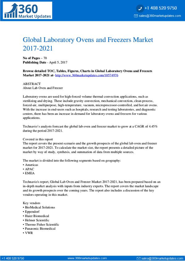 Report- Laboratory Ovens and Freezers Market 2017-2021