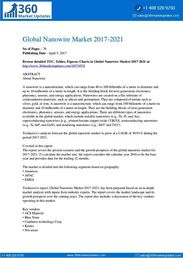 Report- Nanowire Market 2017-2021