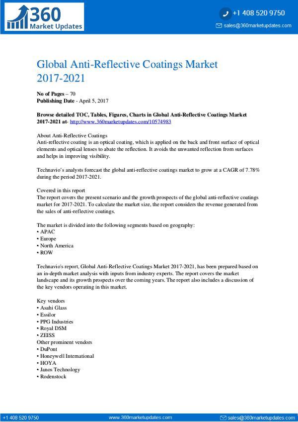 Report- Anti-Reflective Coatings Market 2017-2021