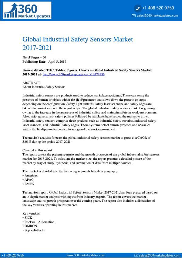 Report- Industrial Safety Sensors Market 2017-2021