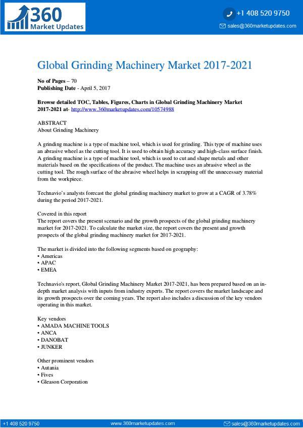 Report- Grinding Machinery Market 2017-2021