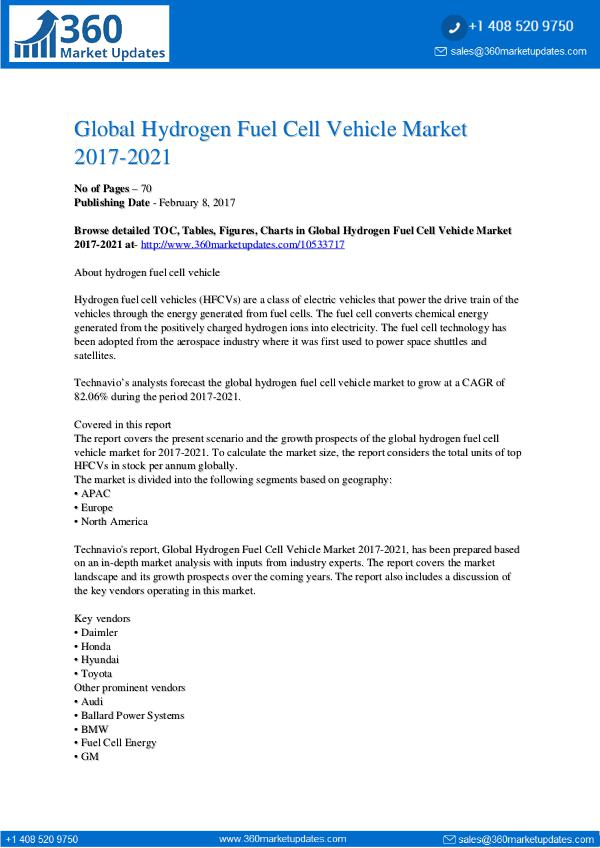 Hydrogen Fuel Cell Vehicle Market 2017-2021