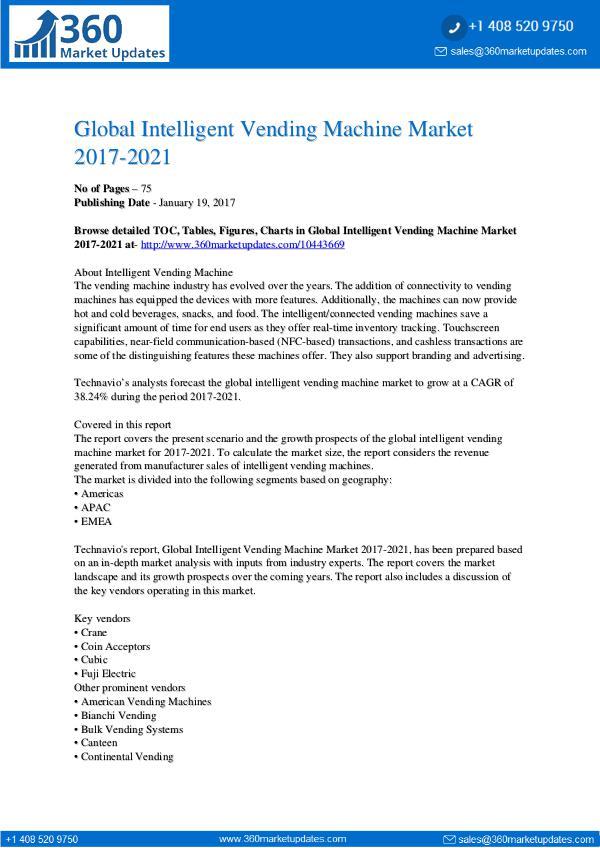 Report- Intelligent Vending Machine Market 2017-2021