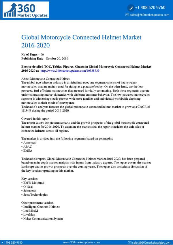 Motorcycle Connected Helmet Market 2016-2020