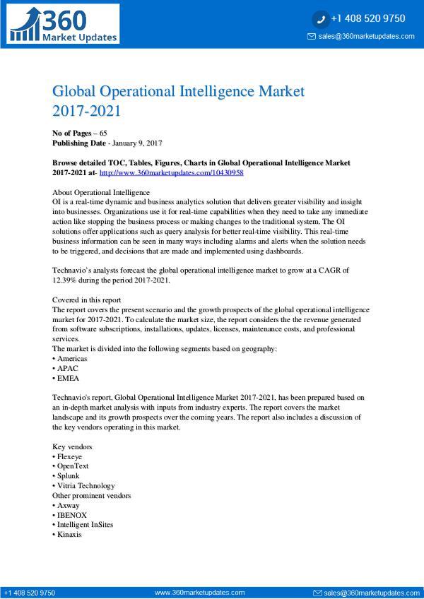 Report- Global Operational Intelligence Market 2017-2021