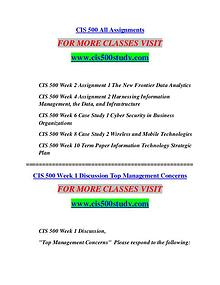 CIS 500 STUDY Learn Do Live cis500study.com