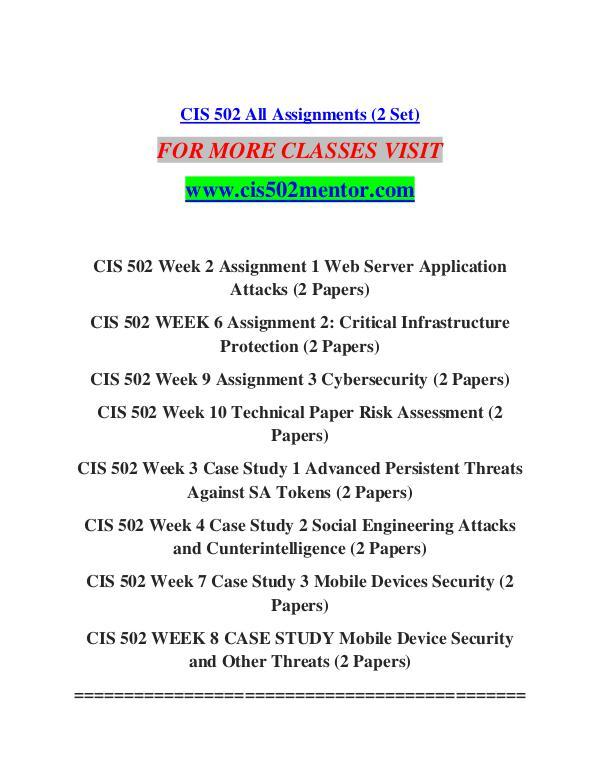 CIS 502 MENTOR Learn Do Live /cis502mentor.com CIS 502 MENTOR Learn Do Live /cis502mentor.com