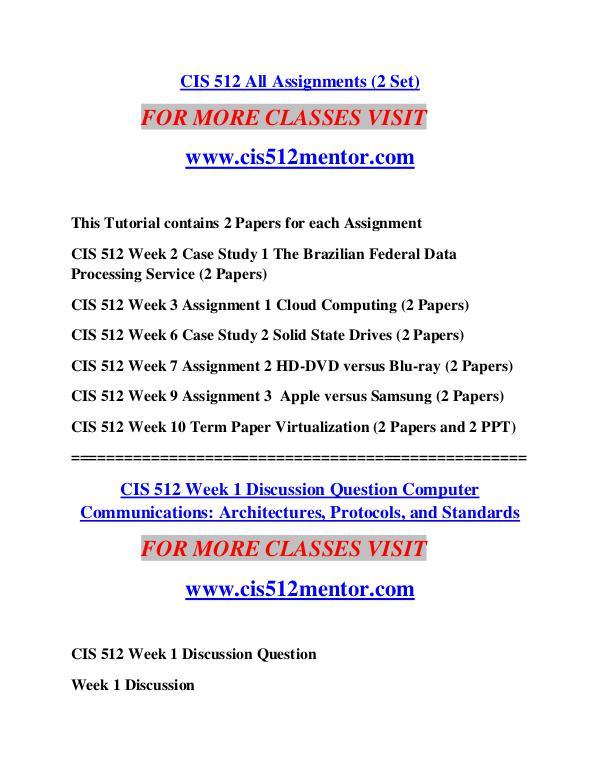 CIS 512 MENTOR Learn Do Live /cis512mentor.com CIS 512 MENTOR Learn Do Live /cis512mentor.com