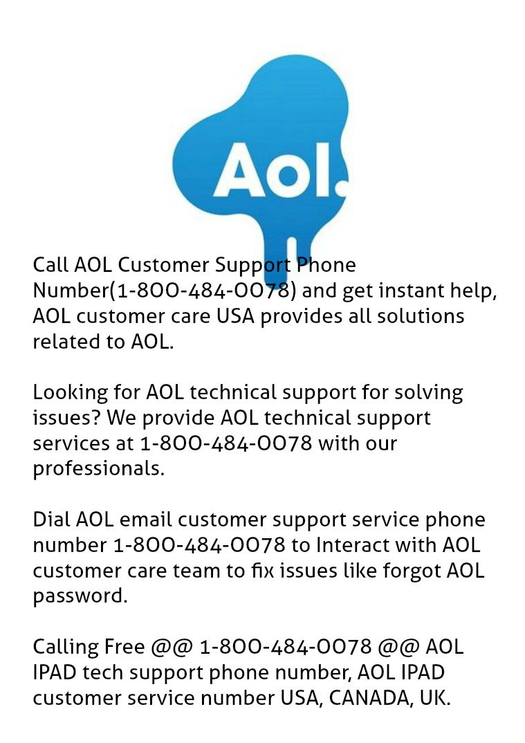 Consult @ 1-8OO-484-OO78 If AOL is Not Working Or AOL having issues Cal +1-8OO-484-OO78 aim aol password recovery