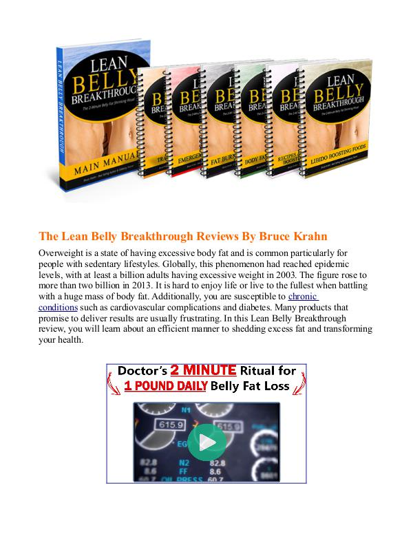 Lean Belly Breakthrough PDF / System Is Bruce Krahn's Program Free Download?