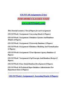 CIS 515 STUDY Learn Do Live /cis515study.com