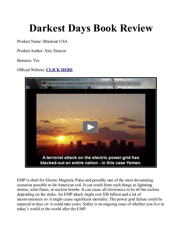 Darkest Days Book PDF / Reviews Free Download How To Survive An EMP Attack To The Grid