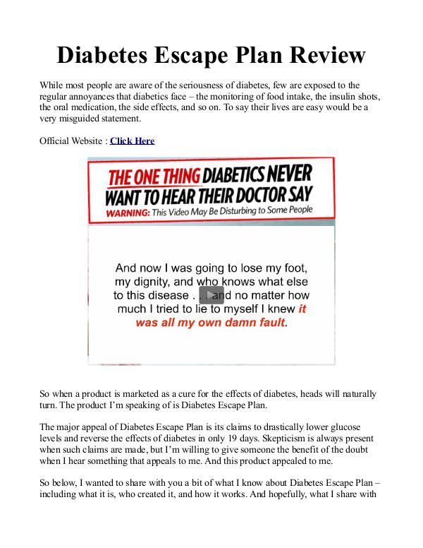 Diabetes Escape Plan PDF / Gary Martin Does it work?