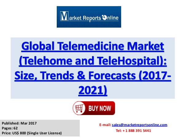 Telemedicine Market Research Report and Trends Forecasts 2017 to 2021 Telemedicine Industry Overview, Trends