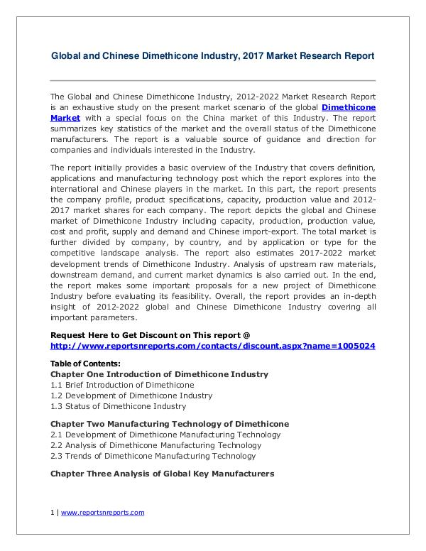 Dimethicone Market Growth Analysis and Forecasts To 2022 Dimethicone Market Global Analysis 2017