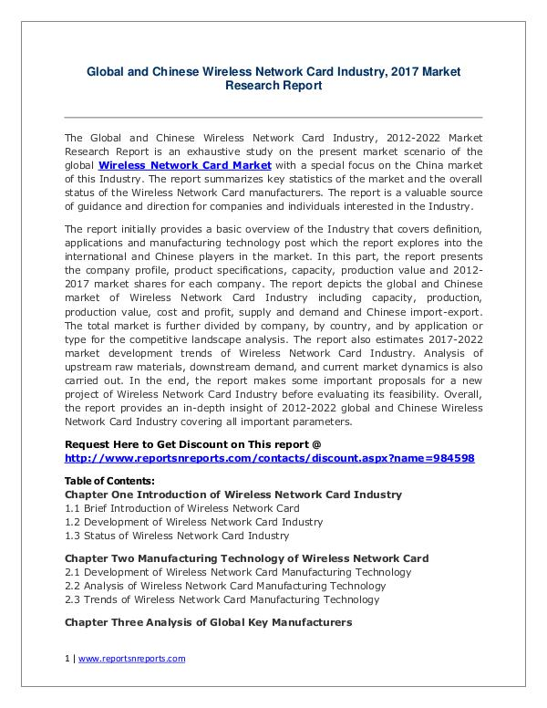 Wireless Network Card Market Growth Analysis and Forecasts To 2022 2017 Global Wireless Network Card Market Growth