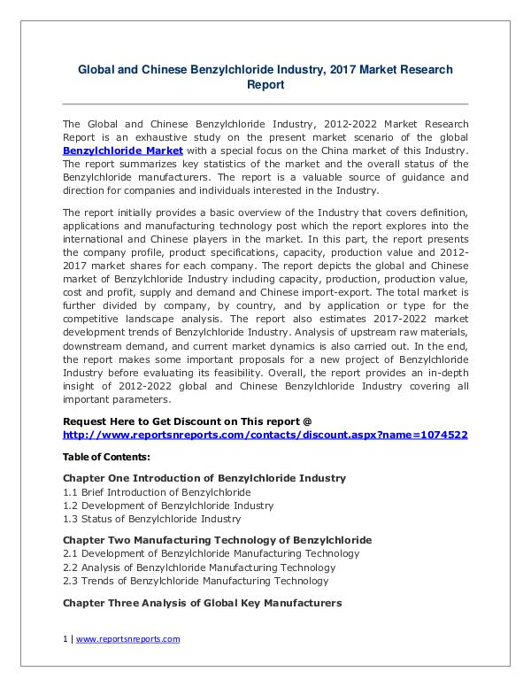 Benzylchloride Market Growth Analysis and Forecasts To 2022 Benzylchloride Market Global Analysis 2017