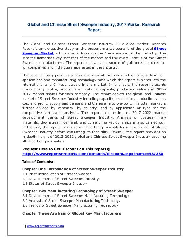 Street Sweeper Market Growth Analysis and Forecasts To 2022 Street Sweeper Market: 2017 Global Industry