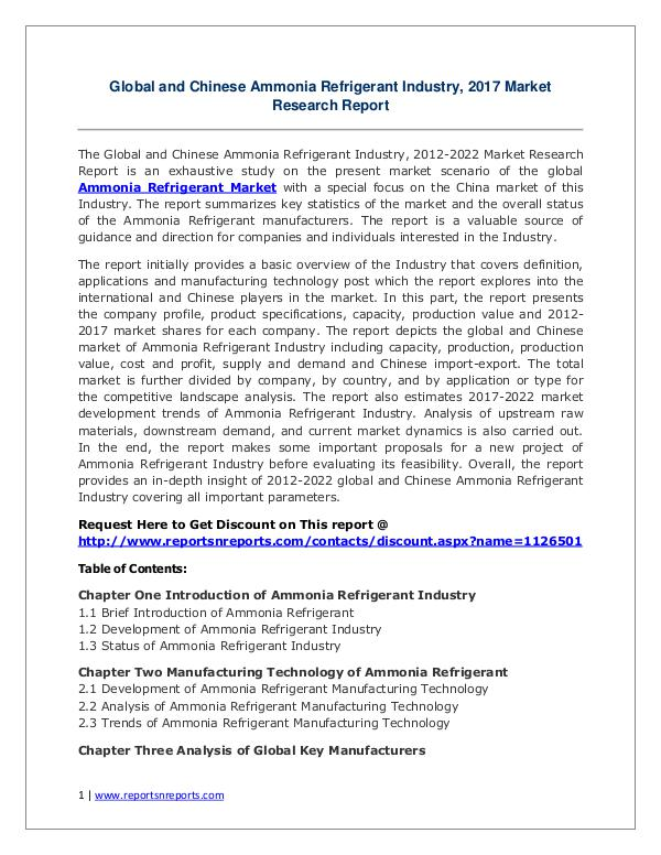 Ammonia Refrigerant Market Growth Analysis and Forecasts To 2022 Ammonia Refrigerant Market Global Analysis 2017