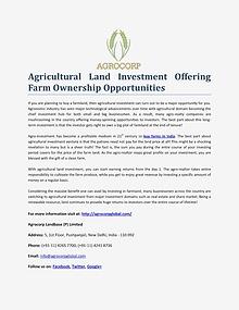 Agrocorp Landbase (P) Limited