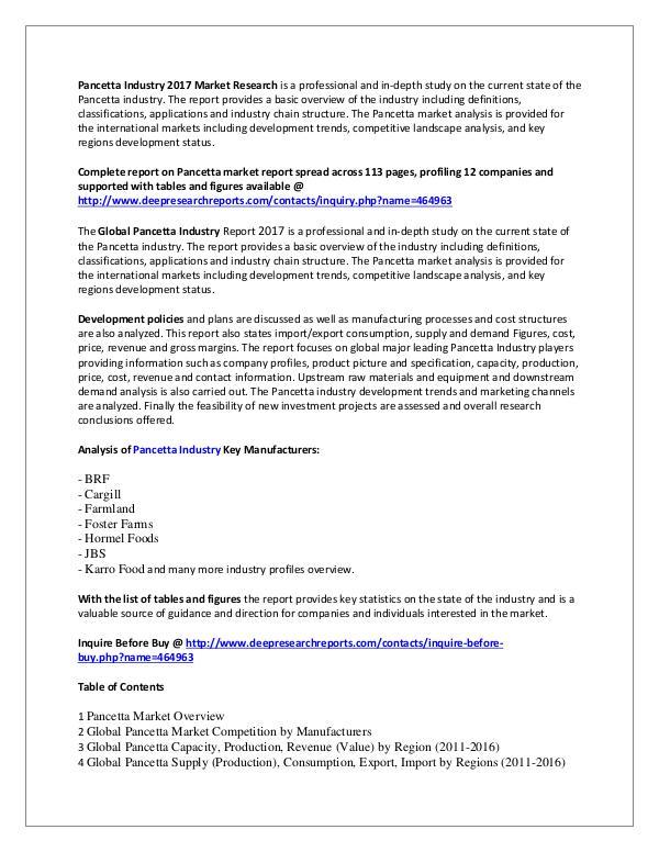 Pancetta Market Research Report 2017 Pancetta Industry 2017 Market Research Report