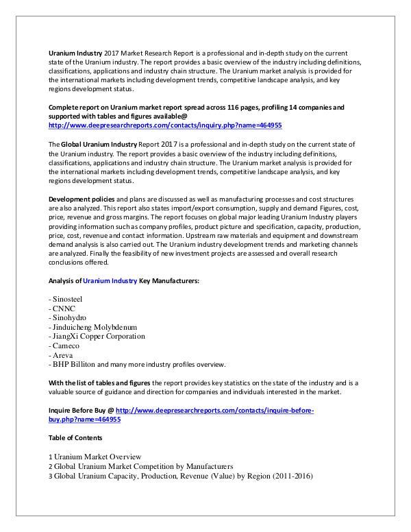 Uranium Industry 2017 Market Research Report Uranium Industry 2017 Market Research Report