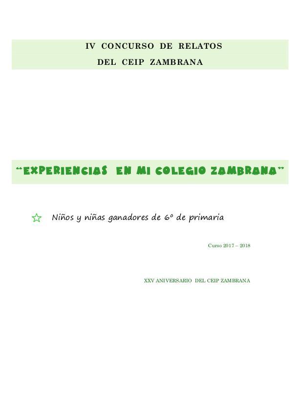 Relatos de 6º del CEIP Zambrana Relatos de 6º 17-18