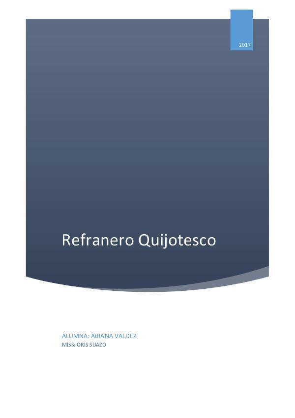 Refranero Quijotesco refranero quijotesco