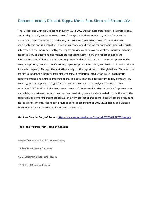 Market Research Study Dodecene Industry Demand, Supply, Market Size,2017